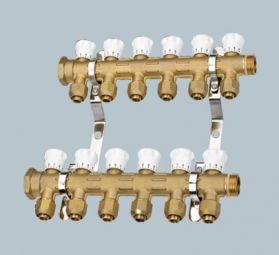 康腾D027款黄铜本色双调节阀一体式分水器