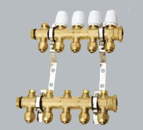 康腾C014款智能黄铜本色锻压一体分水器